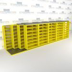 "4-Row Deep (Four Post) Sliding Mobile File Shelving, 6/5/5/5 Legal-Size,(24' 8"" W x 5' 6-1/2"" D x 6' 11-3/4"" H with 7 levels), #SMS-25-Q865LG-4P7"