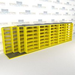 "4-Row (Four Post) Sliding Mobile File Shelving, 6/5/5/5 Letter-Size,(24' 8"" W x 4' 6-1/2"" D x 6' 11-3/4"" H with 7 levels), #SMS-25-Q865LT-4P7"
