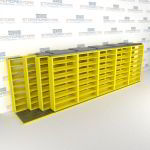 "4-Row (Four Post) Sliding Mobile File Shelving, 6/5/5/5 Letter-Size,(24' 8"" W x 4' 6-1/2"" D x 7' 10-3/4"" H with 8 levels), #SMS-25-Q865LT-4P8"
