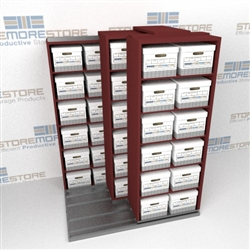Three Rows Deep Box Shelving Moving Sideways on Tracks Storing Files Documents | SMST021BX-4P6