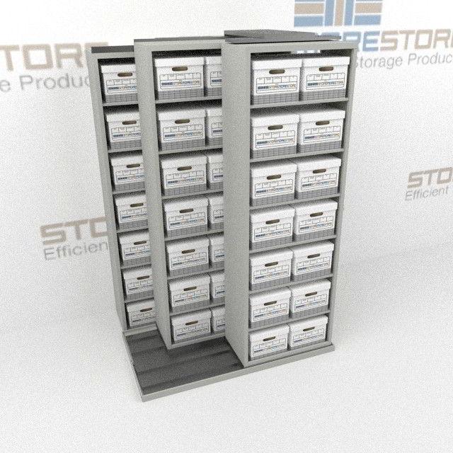 Alternative Views & Three Deep Box Shelving Units Rolls Sideways on Rails Storing Boxes ...