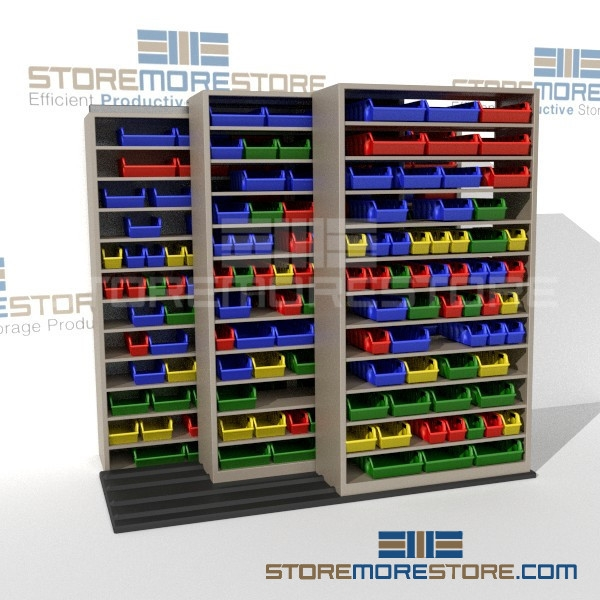 Storing Plastic Bins On Sliding Shelving With Adjustable