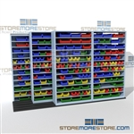 High Density Moving Bin Shelves with Rails