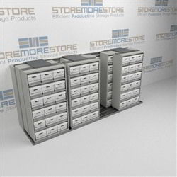 High Capacity Sliding Box Storage Shelving Storing Old Archival Record Boxes | SMST243BX-4P6