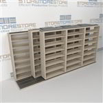 "Triple Deep (Four Post) Sliding Mobile File Shelving, 4/3/3 Letter-Size (14' 4"" W x 3' 5"" D x 6' 10-3/4"" H with 7 levels), #SMS-25-T243LT4P7"