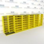 "Triple Deep (Four Post) Sliding Mobile File Shelving, 6/5/5 Legal-Size (21' 8"" W x 4' 1-1/2"" D x 6' 10-3/4"" H with 7 levels), #SMS-25-T265LG4P7"