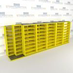 "Triple Deep (Four Post) Sliding Mobile File Shelving, 6/5/5 Legal-Size (21' 8"" W x 4' 1-1/2"" D x 7' 10-3/4"" H with 8 levels), #SMS-25-T265LG4P8"