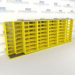 "Triple Deep (Four Post) Sliding Mobile File Shelving, 6/5/5 Letter-Size (21' 8"" W x 3' 5"" D x 7' 10-3/4"" H with 8 levels), #SMS-25-T265LT4P8"