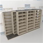 "Triple Deep (Four Post) Sliding Mobile File Shelving, 4/3/3 Legal-Size (12' 4"" W x 4' 1-1/2"" D x 6' 10-3/4"" H with 7 levels), #SMS-25-T643LG4P7"