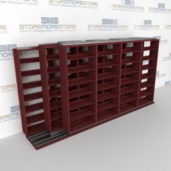 "Triple Deep (Four Post) Sliding Mobile File Shelving, 5/4/4 Letter-Size (15' 4"" W x 3' 5"" D x 6' 10-3/4"" H with 7 levels), #SMS-25-T654LT4P7"