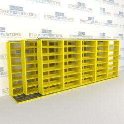 "Triple Deep (Four Post) Sliding Mobile File Shelving, 6/5/5 Letter-Size (18' 8"" W x 3' 5"" D x 6' 10-3/4"" H with 7 levels), #SMS-25-T665LT4P7"