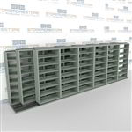 "Triple Deep (Four Post) Sliding Mobile File Shelving, 7/6/6 Legal-Size (21' 8"" W x 4' 1-1/2"" D x 6' 10-3/4"" H with 7 levels), #SMS-25-T676LG4P7"