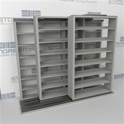 "Triple Deep (Four Post) Sliding Mobile File Shelving, 2/1/1 Letter-Size (8' 4"" W x 3' 5"" D x 6' 10-3/4"" H with 7 levels), #SMS-25-T821LT4P7"