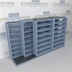 "Triple Deep (Four Post) Sliding Mobile File Shelving, 3/2/2 Letter-Size (12' 4"" W x 3' 5"" D x 6' 10-3/4"" H with 7 levels), #SMS-25-T832LT4P7"