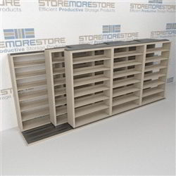 "Triple Deep (Four Post) Sliding Mobile File Shelving, 4/3/3 Letter-Size (16' 4"" W x 3' 5"" D x 6' 10-3/4"" H with 7 levels), #SMS-25-T843LT4P7"