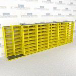"Triple Deep (Four Post) Sliding Mobile File Shelving, 6/5/5 Letter-Size (24' 8"" W x 3' 5"" D x 7' 10-3/4"" H with 8 levels), #SMS-25-T865LT4P8"