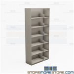 Open Binder Shelving Six-High Steel Storage Racks 3-Ring Notebook Cabinets