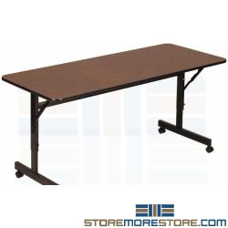 Fold Away Training Tables Rolls Compacts Nesting Together Worksurface Flips Down