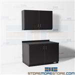 Closed Copy Room Wall Cabinets Millwork Upper Base Work Counter Storage Casework