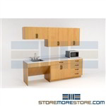 Break Room Upper & Base Cabinets Corporate Snack Area Millwork Casework