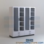 Lab Storage Cabinets with Glass Doors Casework for Science Classrooms