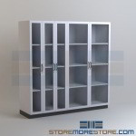 Glass Door Laboratory Storage Cabinets Storing Lab Supplies Shelves