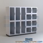 Laboratory Wall Storage Cabinets Lab Supply Shelving with Glass Doors