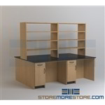 Lab Work Tables with Stack Shelves Storage Over Bench Countertops