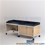 Mailroom Sorting Tables with Dump Rims & Casters Rolling Mail Cabinets on Wheels
