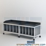 Rolling Mailroom Tables with Vertical Storage Slots & Dump Rims