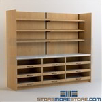 Medication Dispensing Counter Drawer Cabinets with Overhead Shelves