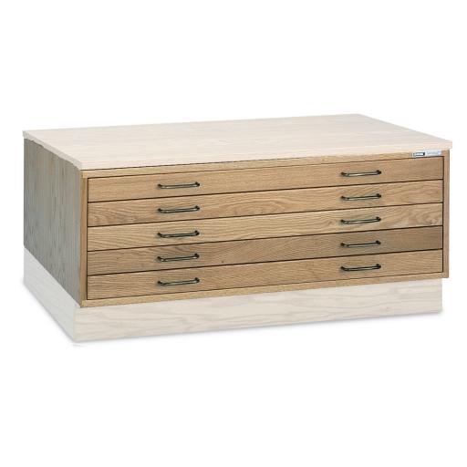 Large Wood Flat File 5-Drawer Cabinet | Sheets 50x38 Plan Storage ...