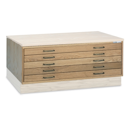 Discontinued Wood Flat File Cabinet Five 1 5 8 High Drawers