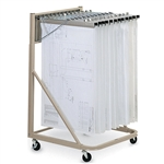 "Hanging Plan Drawing Rolling Cart With Twelve 36"" Hangers And Clamps, #SMS-31-9324"