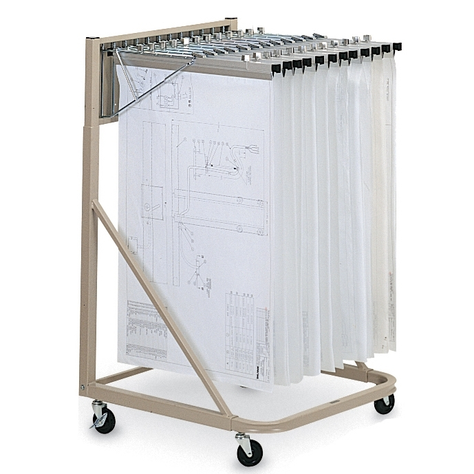Hanging plan drawing rolling cart vertical mobile for Architectural plan storage