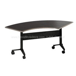 "67""x24"" Crescent (48"" Radius) Flip-N-Go® table with thermally fused laminate and standard t-mold edge, #SMS-31-LC24"
