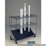 Mobile Blueprint Storage Cart Rolled Construction Plan Drawings Mayline RF60