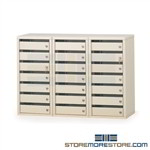 Locking mail cubbies with security doors, each individual compartment has a different lock, perfect as a small business mail sorting slots cabinet that can be stored in a common area, contains 21 doors perfect for schools, hospitals and businesses P609