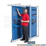 Pegboard Tool Storage Freestanding Rack with Pull-out Nesting Steel Panels