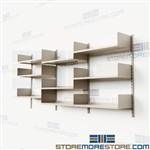 Adjustable Track Shelving Storage Bookshelves Wall Hung Standards Metal Shelves