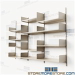 Adjustable Heavy-Duty Wall Shelves Track Storage Shelving Four Shelf Levels