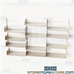 Wall Hung Track Shelves Storage Shelving Adjustable Steel Books Office Supplies