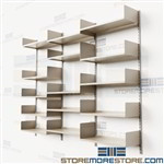 Cantilever Wall Mounted Bookshelves Library Storage Track Shelving Adjustable