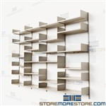 Steel Wall Storage Shelving on Tracks with Adjustable Metal Shelves