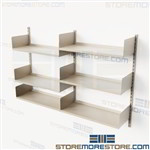 Wall Track Shelving 6' Long 4' High 3 Storage Levels Steel Adjustable Shelves