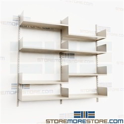 "Wall Bracket Shelving Storage Tracks Brackets Adjustable 66"" High Four Levels"