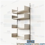 "Shelves on Tracks Four Adjustable Metal Shelves 36"" Wide 65"" High Commercial"