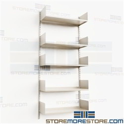 Heavy-Duty Wall Standards with Shelves Steel Storage Shelving Office