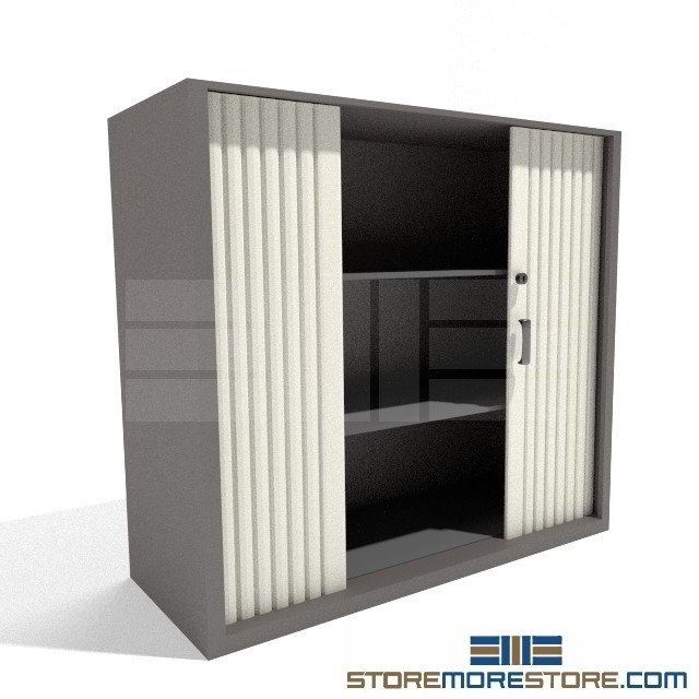 Locking Counter High Storage Cabinet Sliding Doors Adjustable