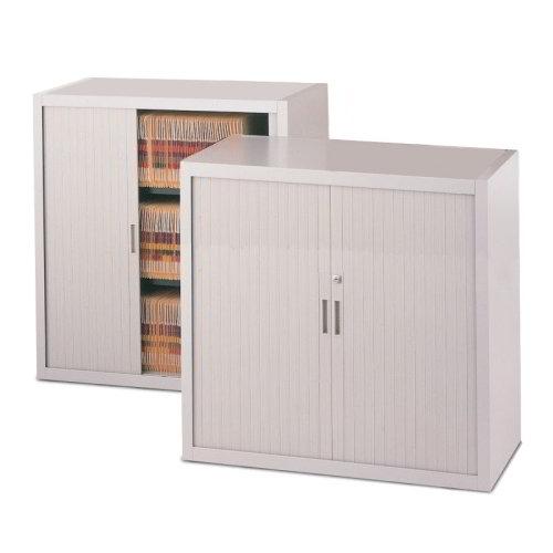 Locking Counter High Storage Cabinet Sliding Doors